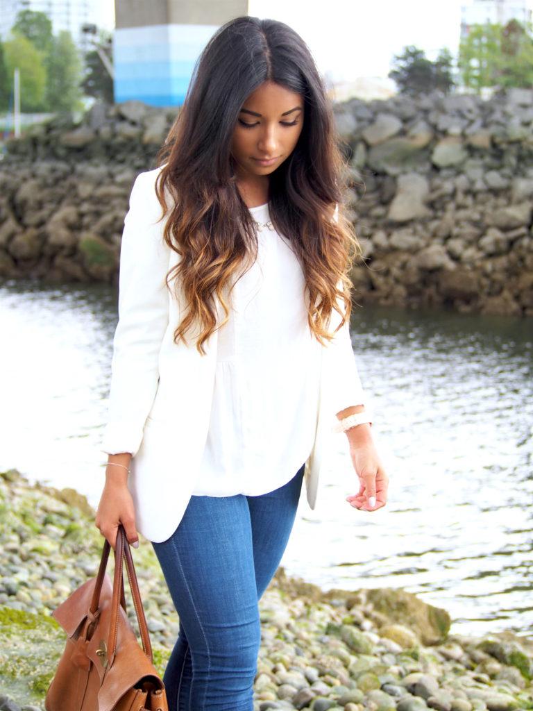 Classic Style: White Blazer & Denim