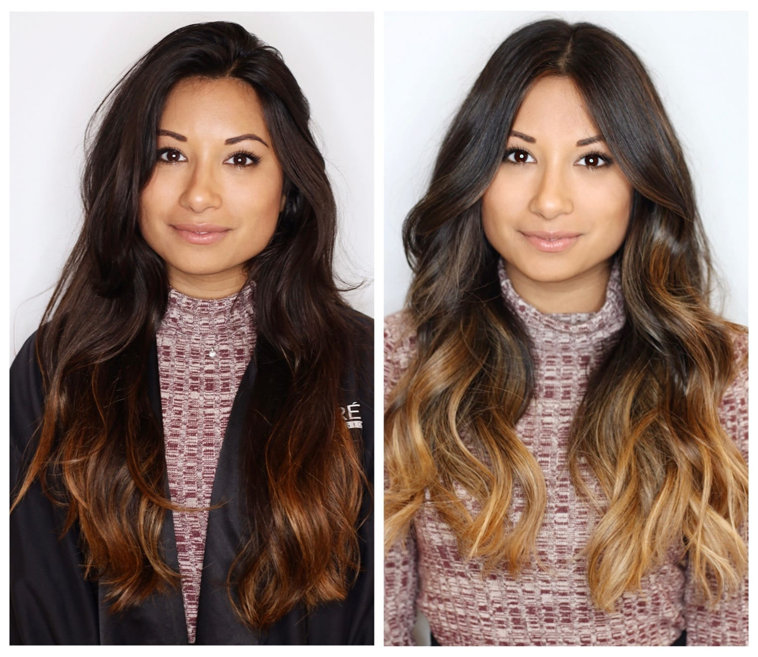 Brunette blonde balayage at brush salon